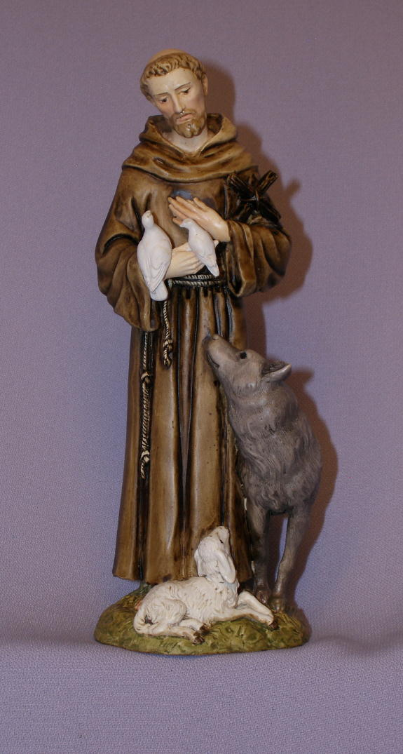 St. Francis With Animals Hand-Painted Alabaster 6""