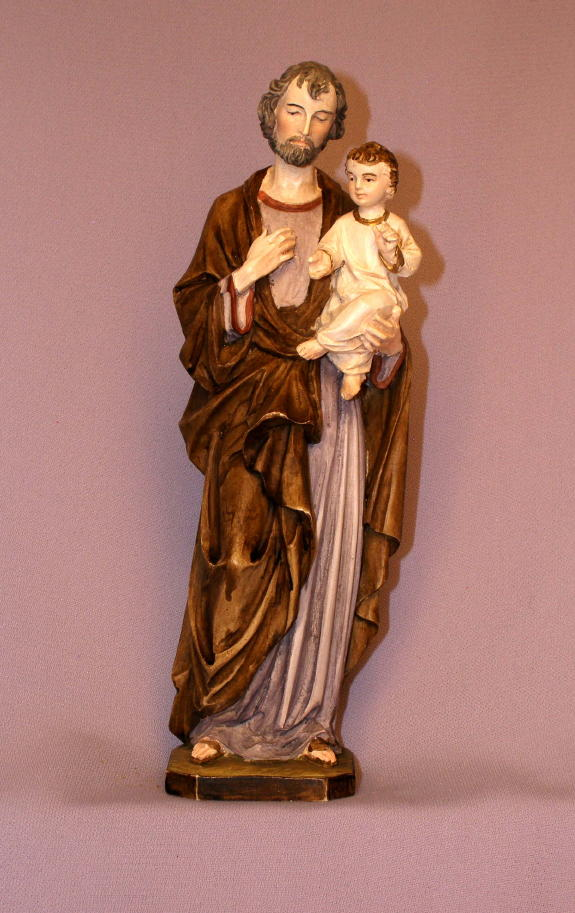 St. Joseph And Child Hand-Painted Alabaster 8""