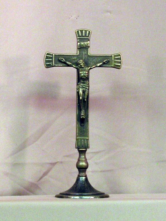 "Standing Crucifix Antiqued Brass 10.5"""
