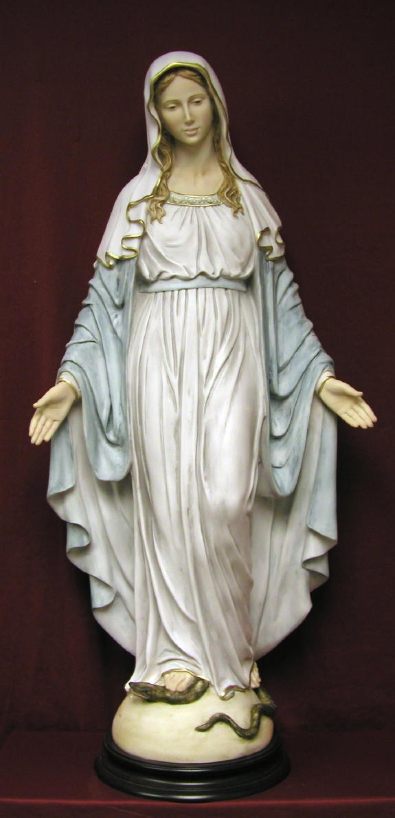 Lady Of Grace Hand-Painted Alabaster 36""