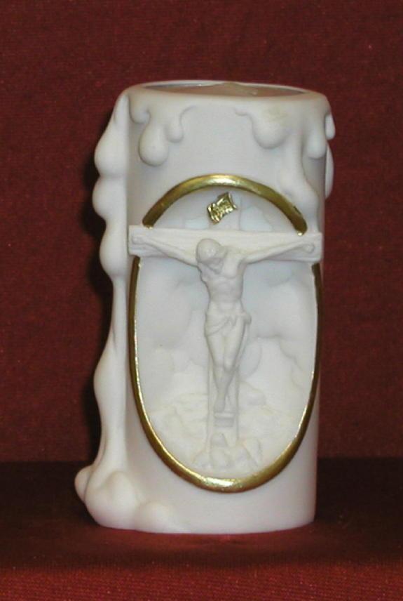 "Crucifixion Votive Candle White Alabaster 4"""