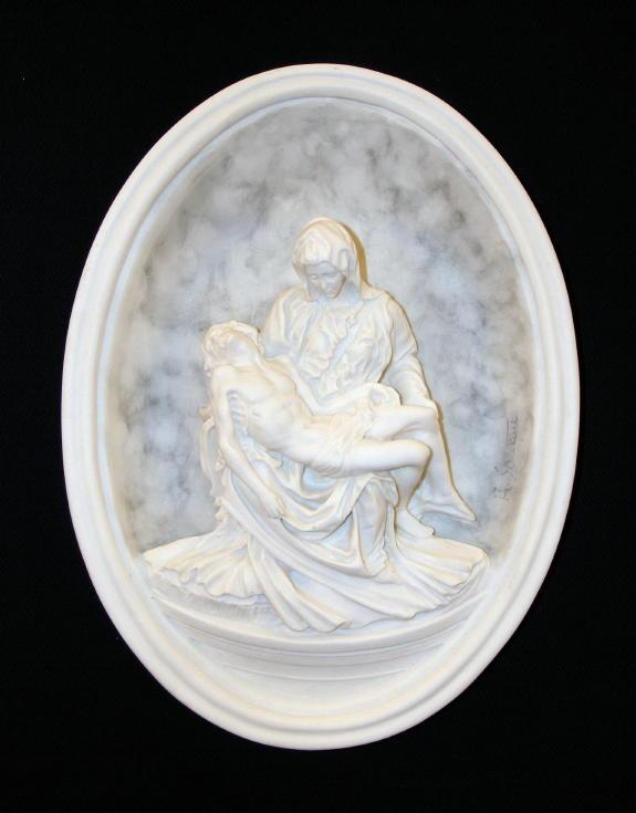 """Pieta Plaque Shaded Alabaster 8.5X10"""""""