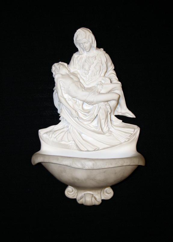 """Pieta Font White Alabaster 9"""""""