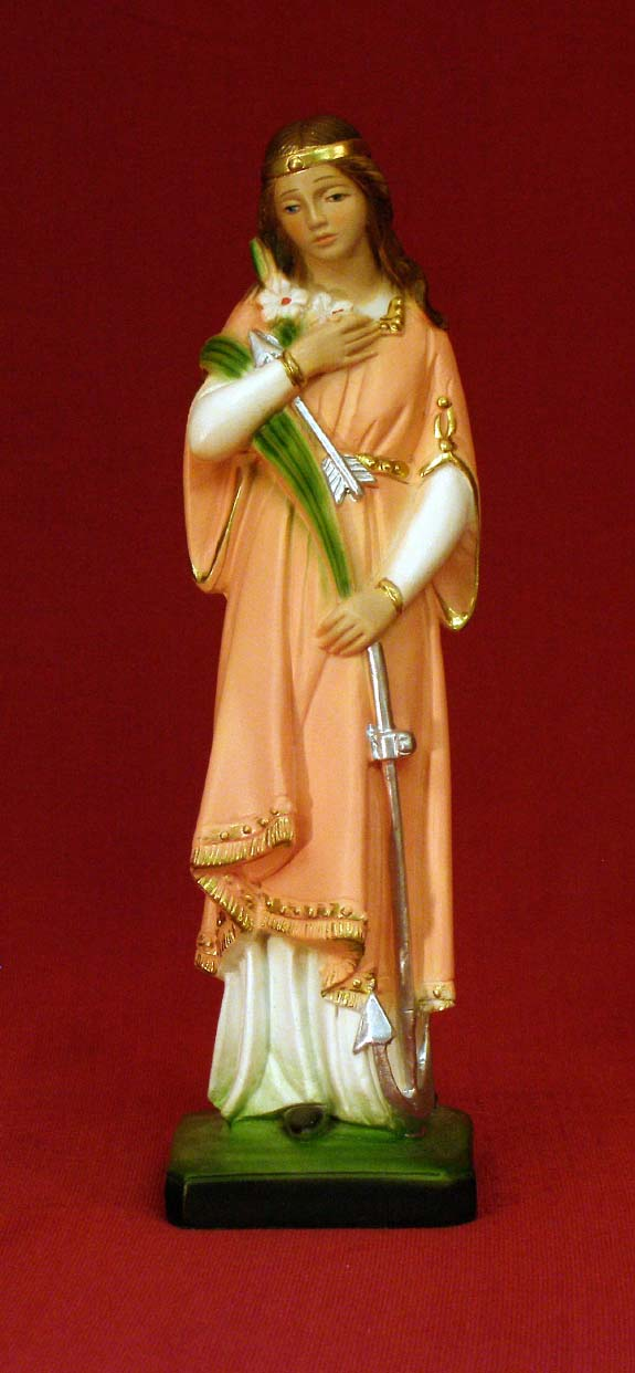 St. Philomena Hand-Painted Alabaster 8.5""