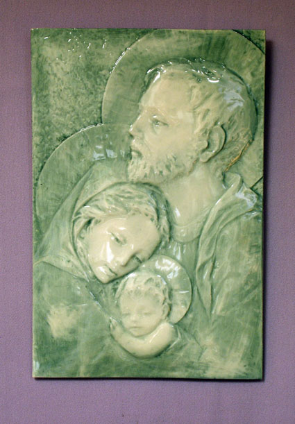 Holy Family Ceramic Plaque Blue 7X10.5""