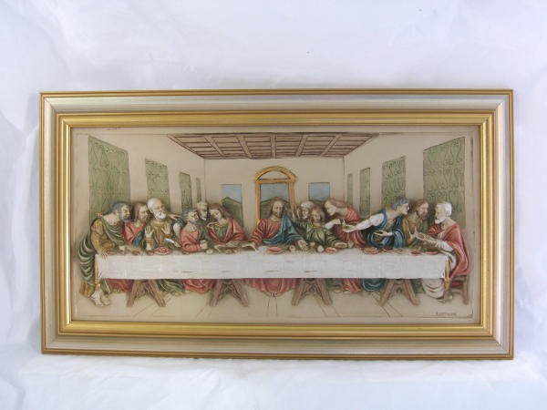 Last Supper Plaque Hand-Painted Alabaster 19X12""