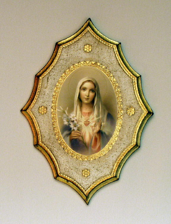 Immaculate Heart Of Mary Florentine Plaque 7.5X10.5""