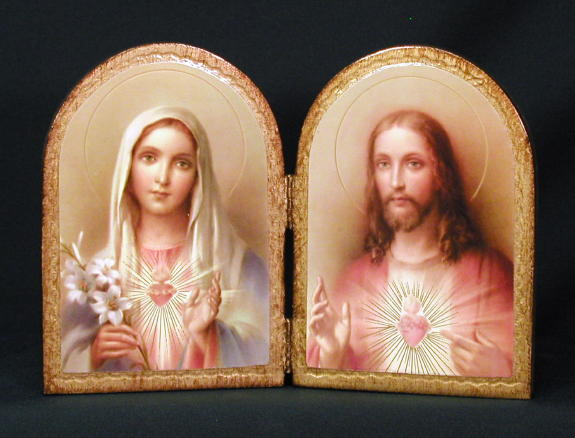 Sacred Heart Of Jesus And Immaculate Heart Of Mary Florentine Diptych 9.5X6.5""