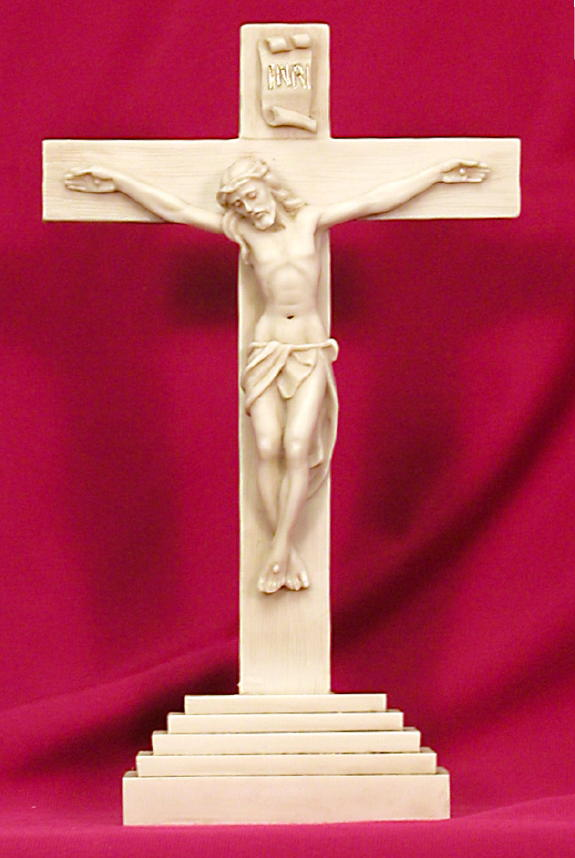 Standing Crucifix Antiqued Alabaster 10.5""