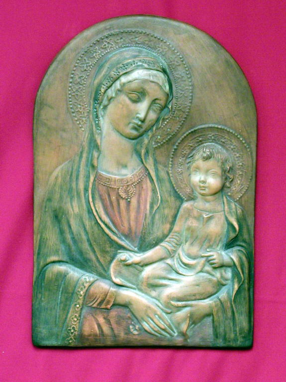 Madonna And Child Terracotta Plaque 8.5X13""