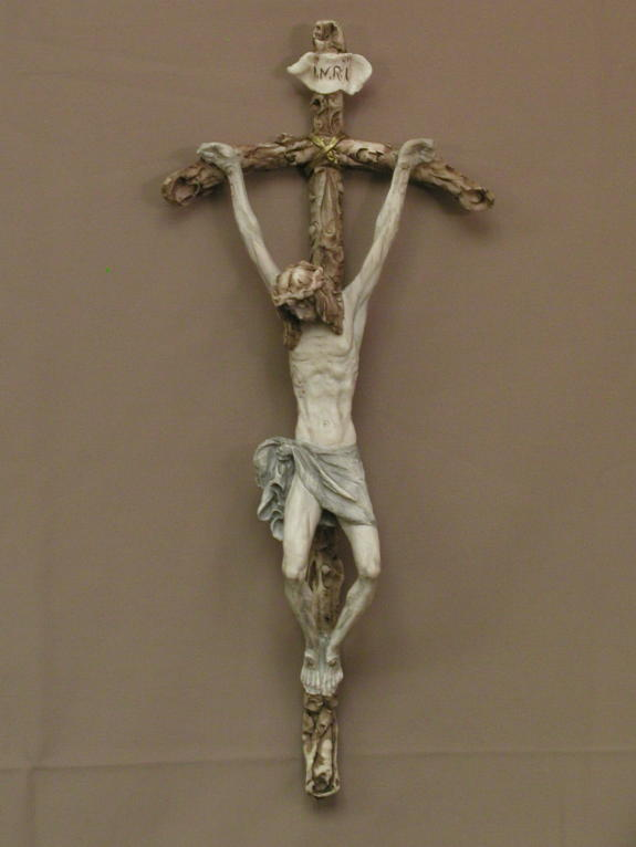 Papal Crucifix By Ado Santini Hand-Painted Alabaster 14.5""