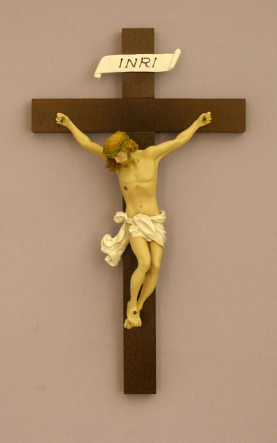 Baroque Style Crucifix Hand-Painted Alabaster 14""