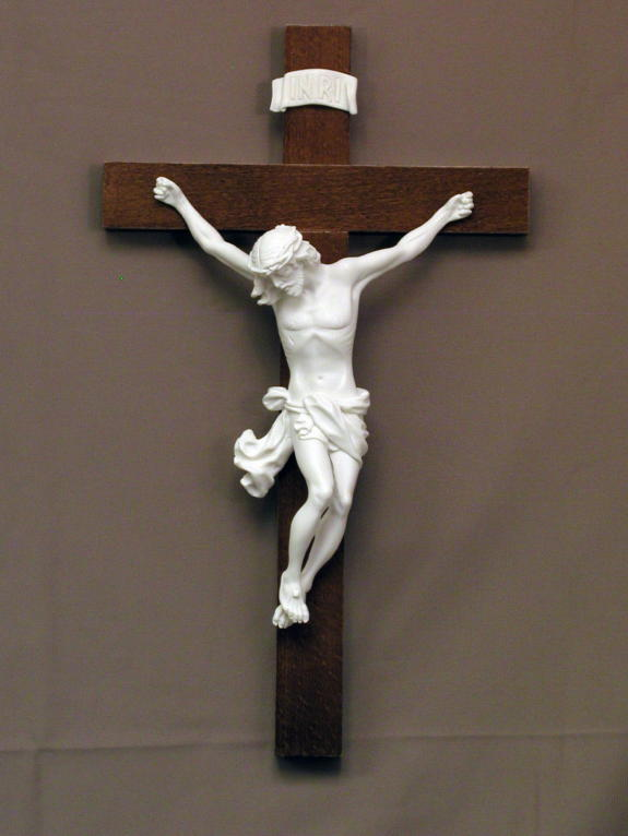 "Baroque Style Crucifix White Alabaster 14"""