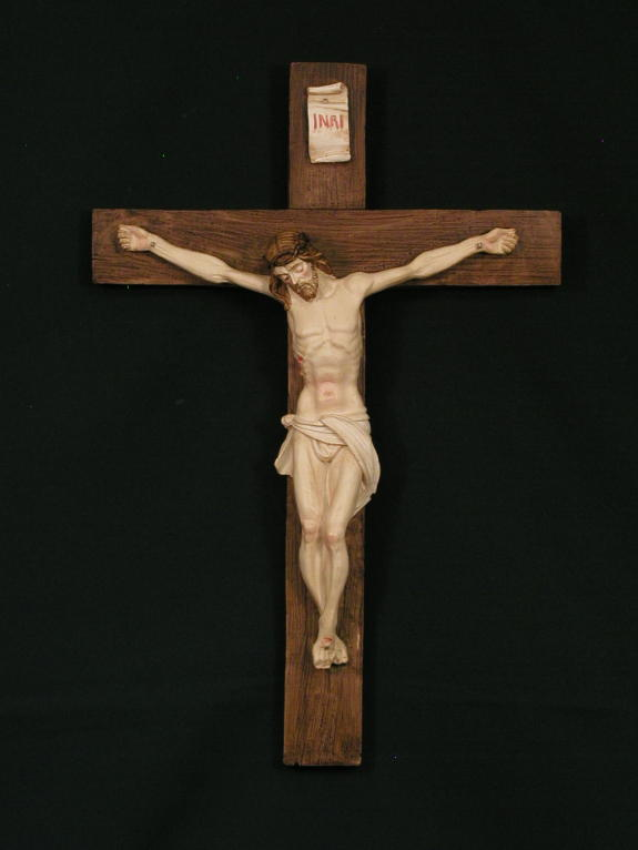 Crucifix With Alabaster Cross And Corpus 15""