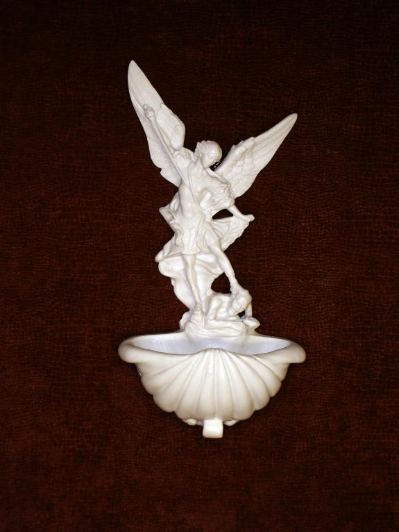 "St. Michael Font White Alabaster 9"""