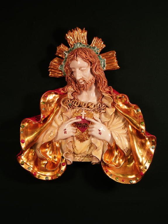 Sacred Heart Of Jesus Bust Wall Plaque Hand-Painted Ceramic 19""