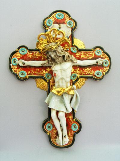 """Crucifix Hand-Painted Ceramic 20"""""""