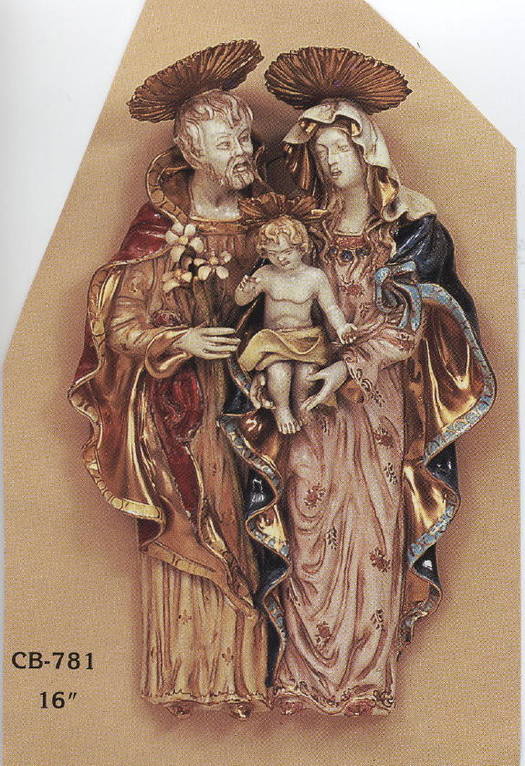 Holy Family Wall Plaque Hand-Painted Ceramic 16""