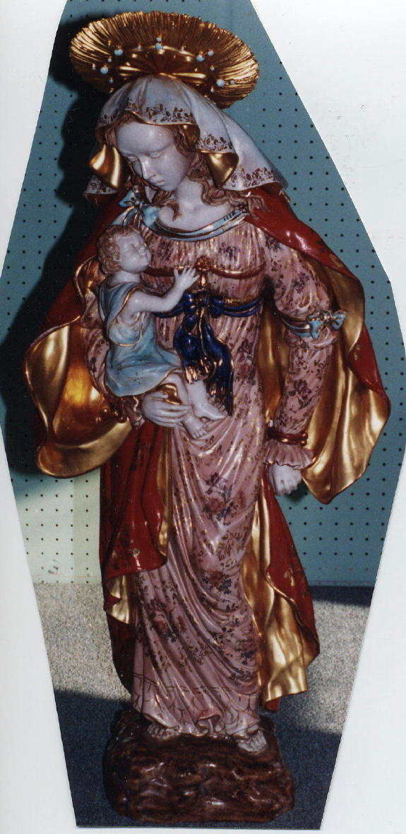 Madonna And Child Hand-Painted Ceramic 39""
