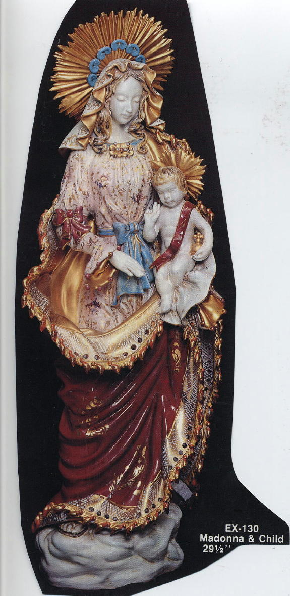 """Madonna And Child Hand-Painted Ceramic 30"""""""