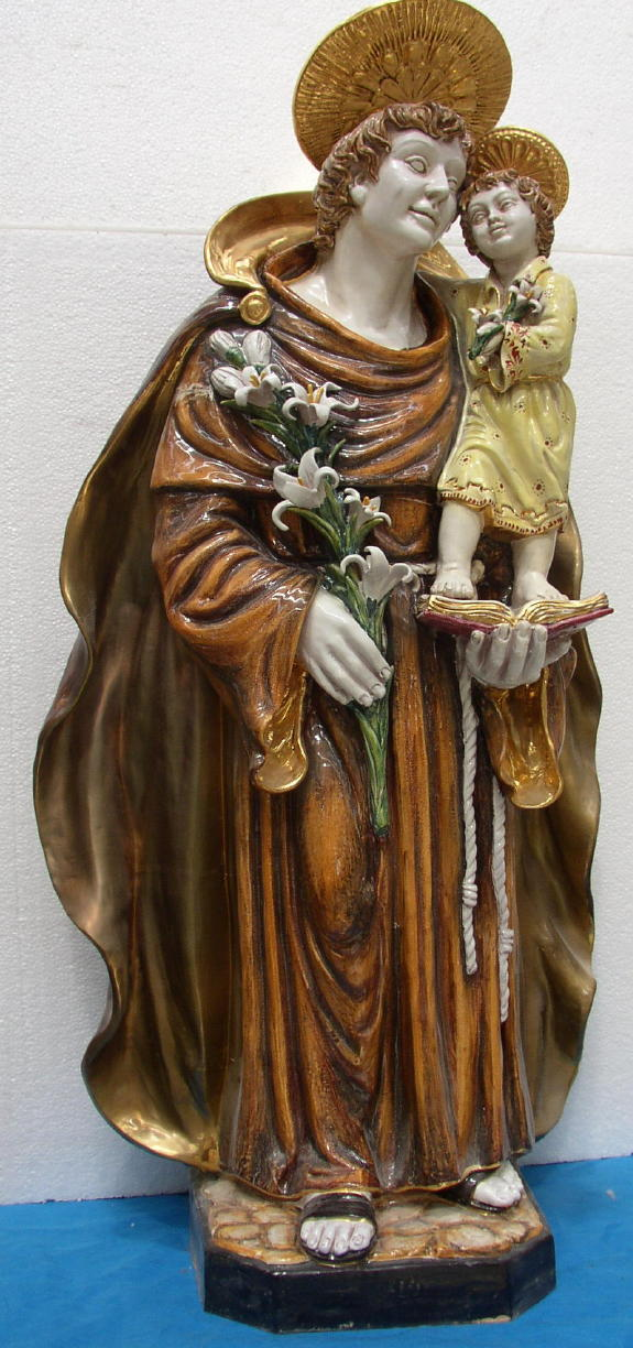 St. Anthony And Child Hand-Painted Ceramic 45""