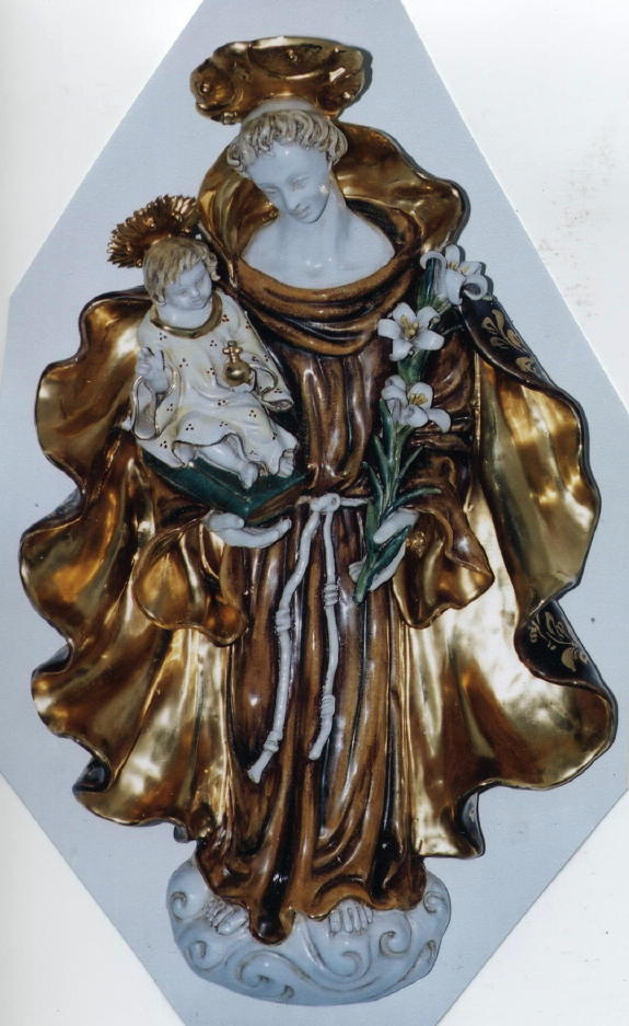 St. Anthony And Child Wall Paque Hand-Painted Ceramic 12X20""