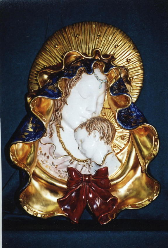 Madonna And Child Wall Plaque Hand-Painted Ceramic 17""