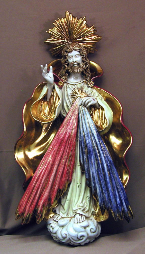 Divine Mercy Hand-Painted Ceramic 14.75X27""