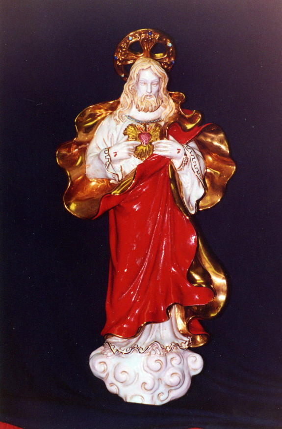 Sacred Heart Of Jesus Wall Plaque Hand-Painted Ceramic 21""