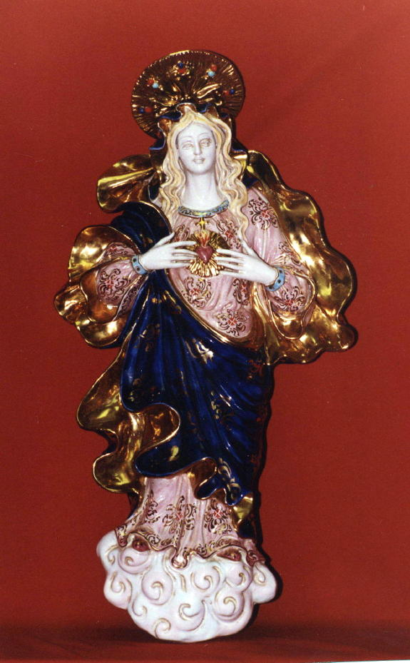 Immaculate Heart Of Mary Wall Plaque Hand-Painted Ceramic 21""