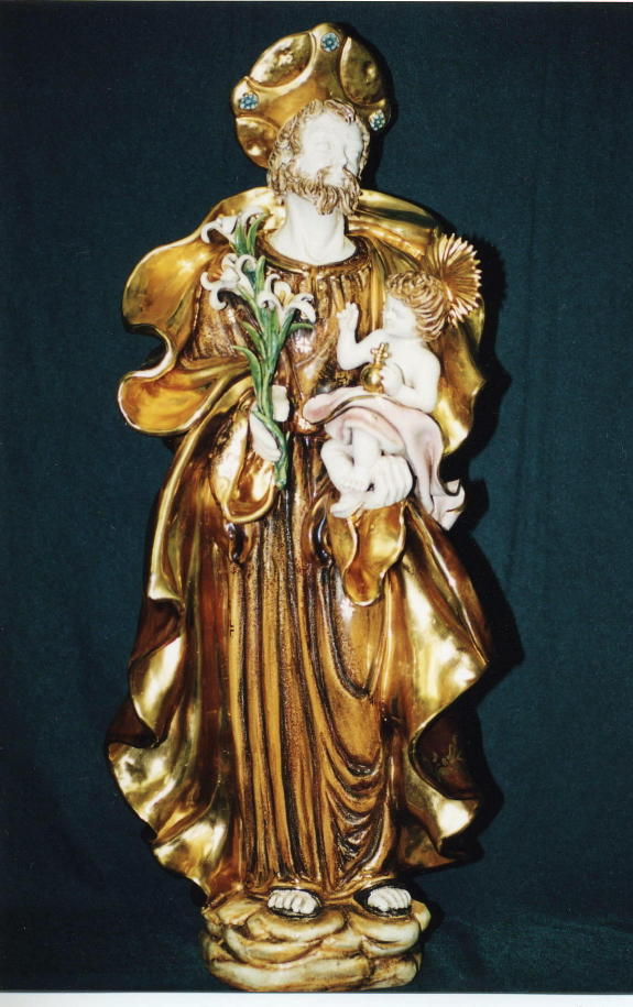 St. Joseph And Child Hand-Painted Ceramic 23""