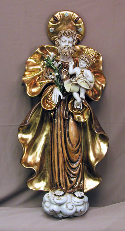 St. Joseph And Child Wall Plaque Hand-Painted Ceramic 25""