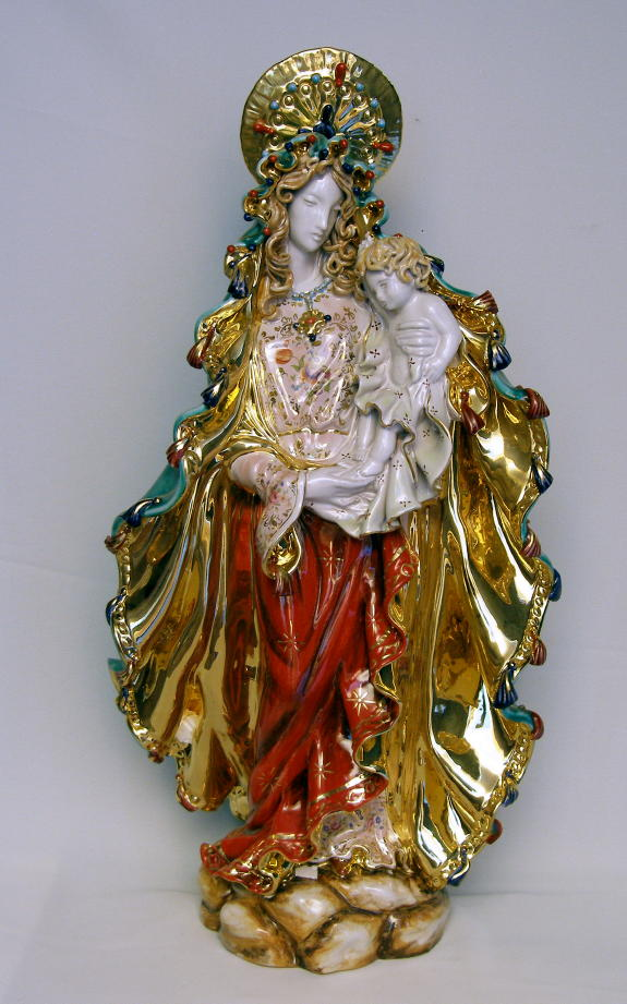 Standing Madonna And Child Hand-Painted Ceramic 26""