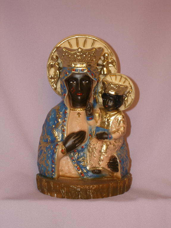 Our Lady Of Czestochowa Hand-Painted Alabaster 7.75""