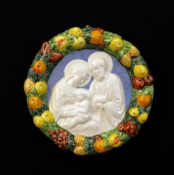 "Holy Family Della Robbia Hand-Painted Ceramic 4"""
