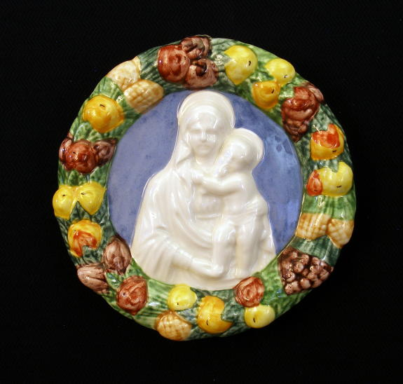 Madonna And Child Della Robbia Hand-Painted Ceramic 4""
