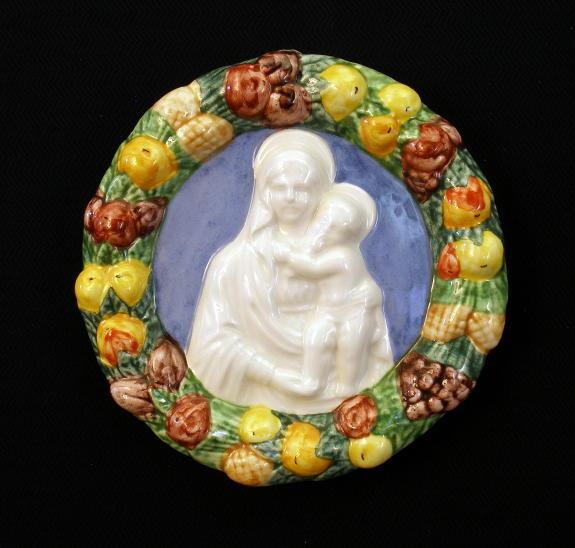 "Madonna And Child Della Robbia Hand-Painted Ceramic 10"""