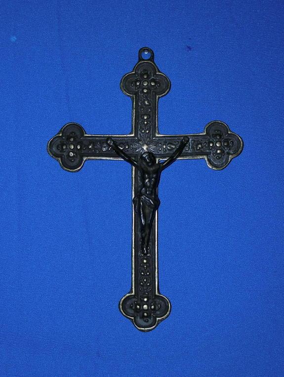 "Orthodox Crucifix Antiqued Brass 10.5"""