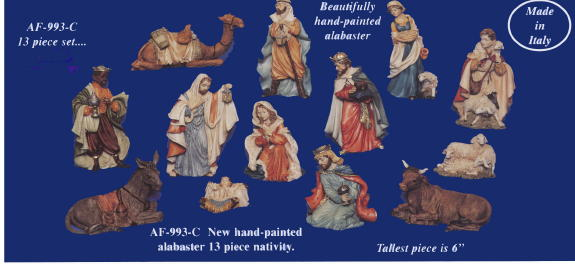 Nativity In Hand-Painted Alabaster 6""