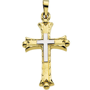 14K Yellow Gold/White Two Tone Cross Pendant
