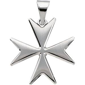 14K White Gold Maltese Cross Pendant