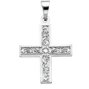 14K White Gold Greek Cross Pendant with Ornate Design
