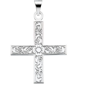 14K White Gold Greek Cross Pendant with Ornate Design