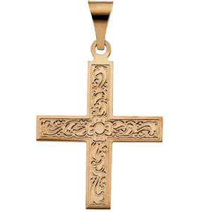 14K Yellow Gold Greek Cross Pendant with Ornate Design