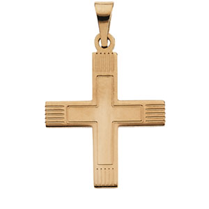 14K Yellow Gold Greek Cross Pendant with Lines