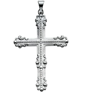 14K White Gold Large Fancy Cross Pendant