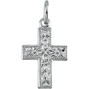 14K White Gold Small Cross Pendant