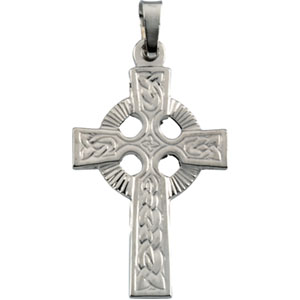 14K White Gold Fancy Celtic Cross Pendant