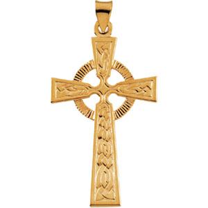 14K Yellow Gold Fancy Celtic Cross Pendant