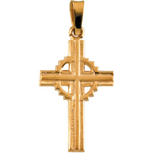 14K Yellow Gold Fancy Cross Pendant